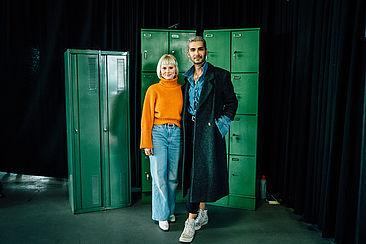 Modedesign-Studentin Isabelle Thiede und Bill Kaulitz von Tokio Hotel.