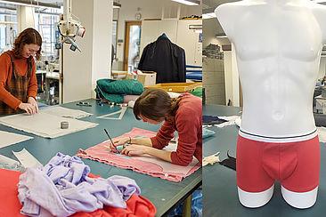 Linkes Bild: zwei Studentinnen beim Schneidern, rechtes Bild: Retro-Pants