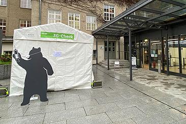 3G-Check und Testzentrum am Campus Treskowallee © HTW Berlin/Anja Schuster